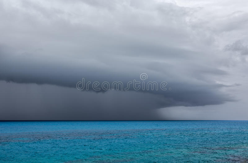 Severe Thunderstorm Over Ocean off Coast of Bermuda royalty free stock photos