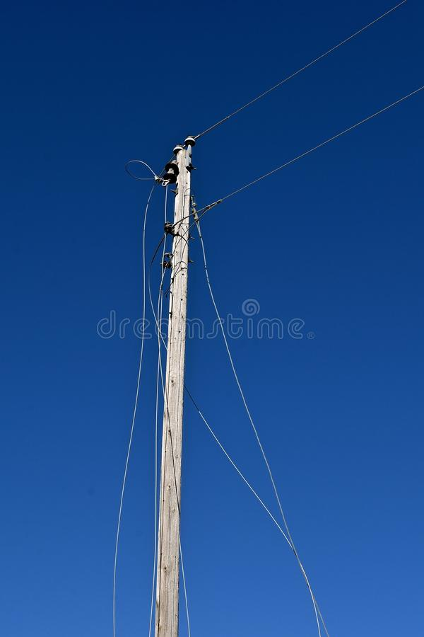 Severed old telephone lines royalty free stock image