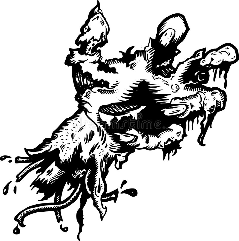Severed rotting hand haloween illustration. Hand drawn and converted to vector format fully editable vector illustration