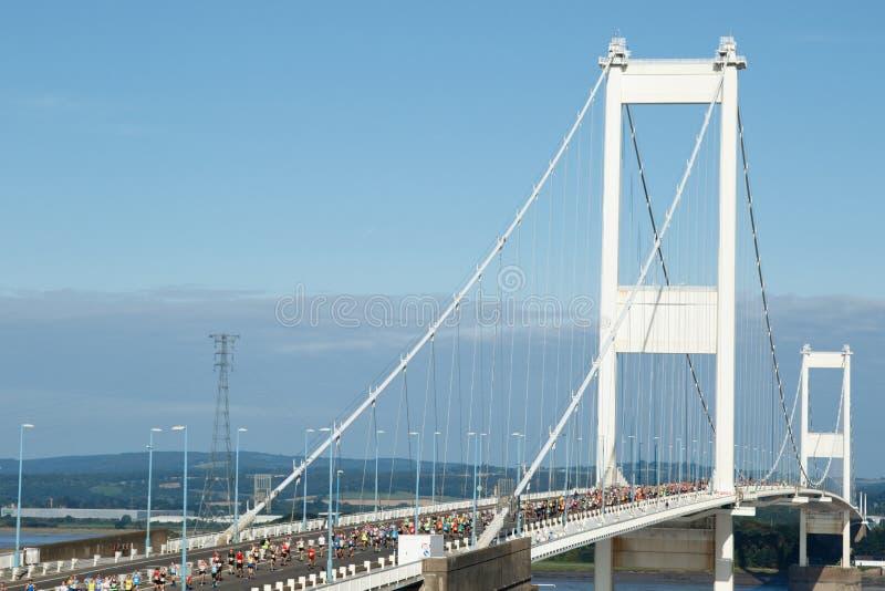 Severn桥梁半马拉松,格洛斯特郡,英国 免版税库存图片