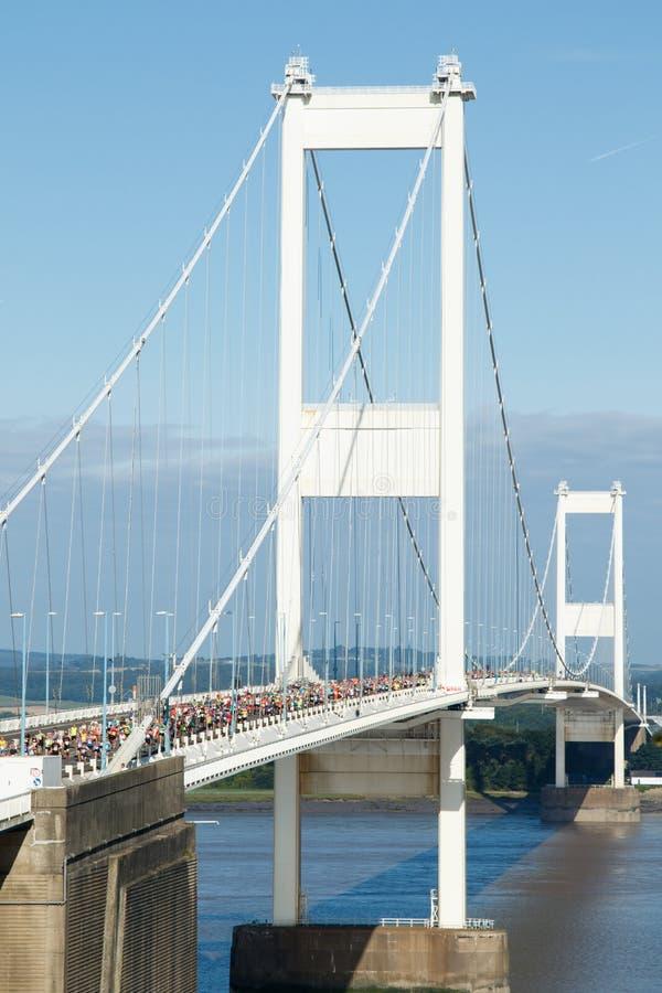 Severn桥梁半马拉松,格洛斯特郡,英国 库存图片