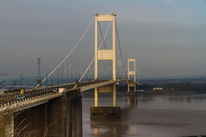 Severn Crossing Suspension Bridge original, paisaje imagen de archivo