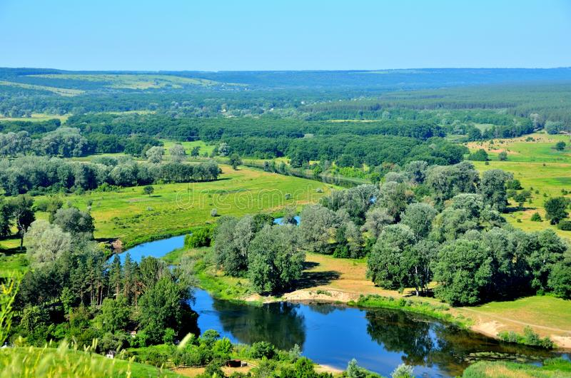 Seversky Donets River in Ukraine stock photo