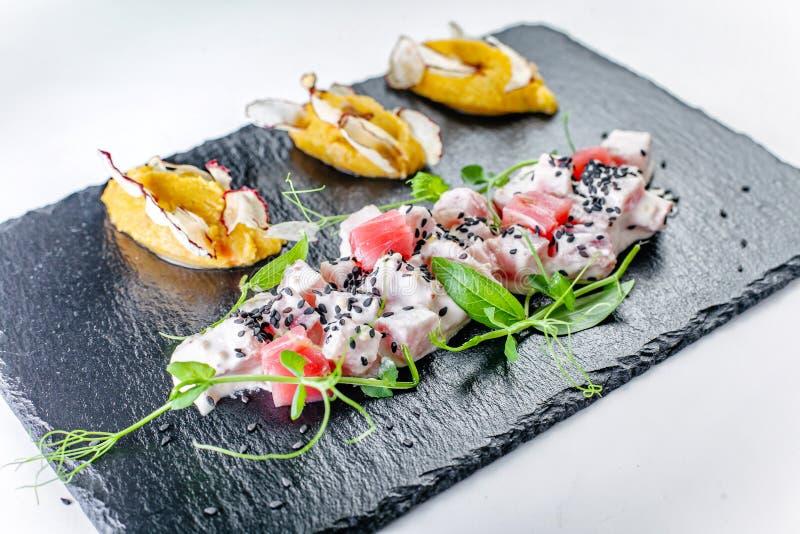 Sevicha od rybiego i dyniowego puree z ogrodową rzodkwią obraz stock