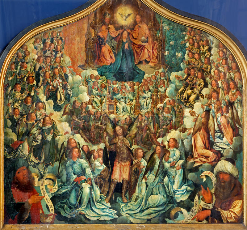 SeviCoronation девственницы Альбертом Cornelis (1517 до 1522) в церков st Jacobs (Jakobskerk) Коронование девственницы мимо стоковые изображения