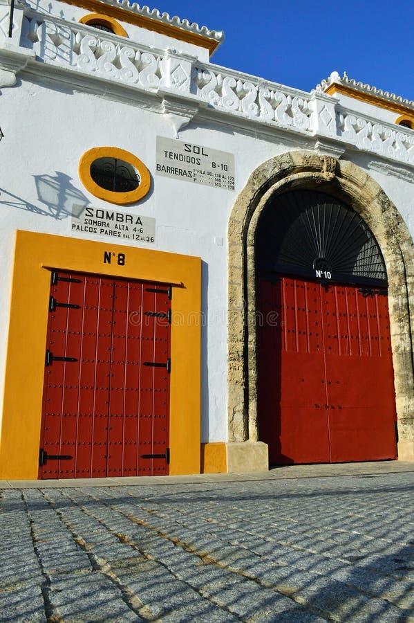 Sevilla - Äußeres das La Piazzade Toros de De Sevilla Real Maestranza de CaballerÃa lizenzfreie stockfotos