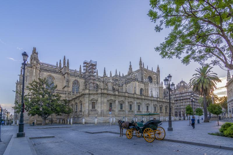 Cathedral of Sevilla in Andalusia, Spain royalty free stock images