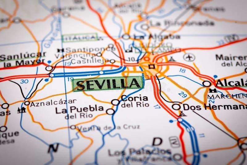 Sevilla auf einer Straßenkarte lizenzfreie stockfotos