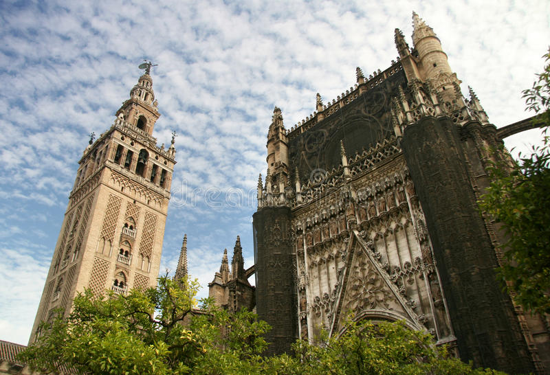 Sevilla Cathedral and the tower Giralda Spain stock photos