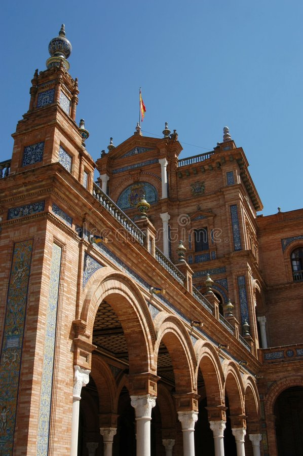 Sevilla - d'Espana van het Plein stock afbeelding