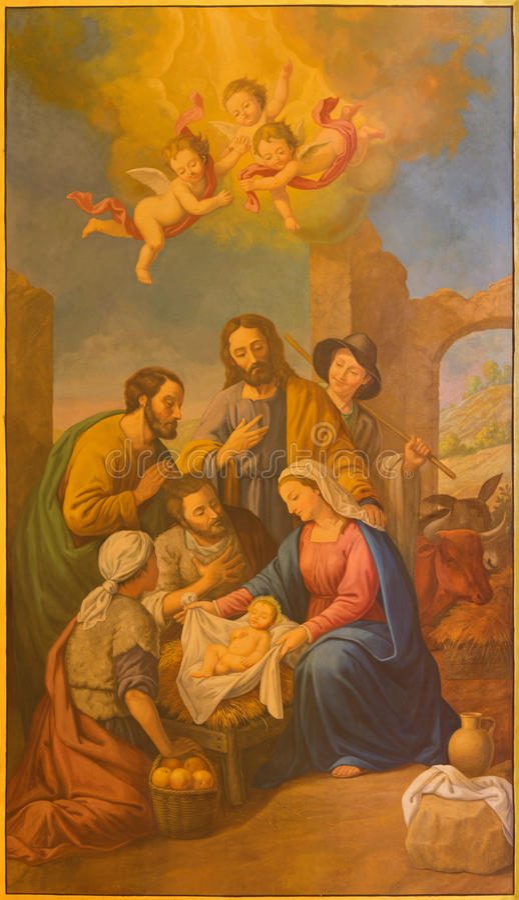 Sevilla - de fresko van Geboorte van Christus in kerk Basilica DE La Macarena stock foto