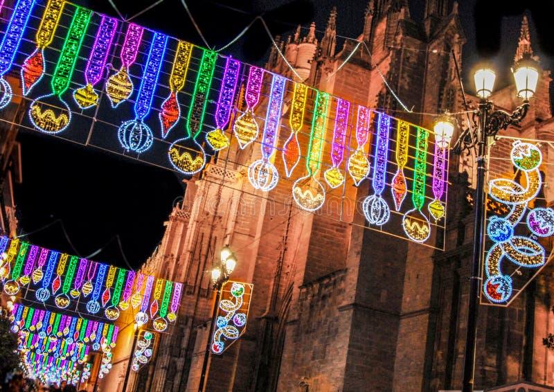 Sevilla, decoraciones de la Navidad, avenida de la constitucion, Andalucía, España fotografía de archivo