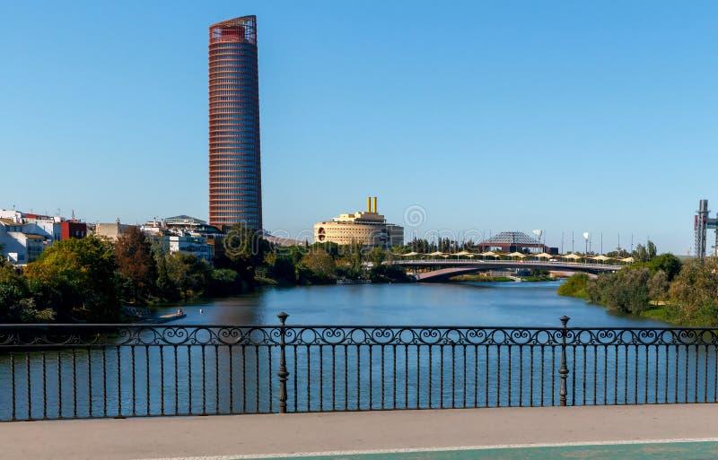 Sevilla. Guadalquivir River. Guadalquivir River in Seville clear sunny morning. Andalusia. Spain royalty free stock image