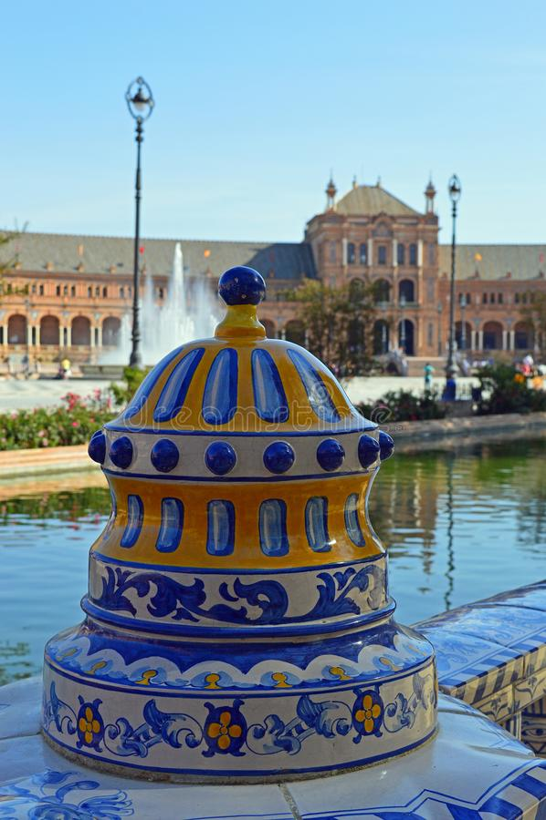Sevilla - het Plein DE España - Ceramisch Detail royalty-vrije stock foto's