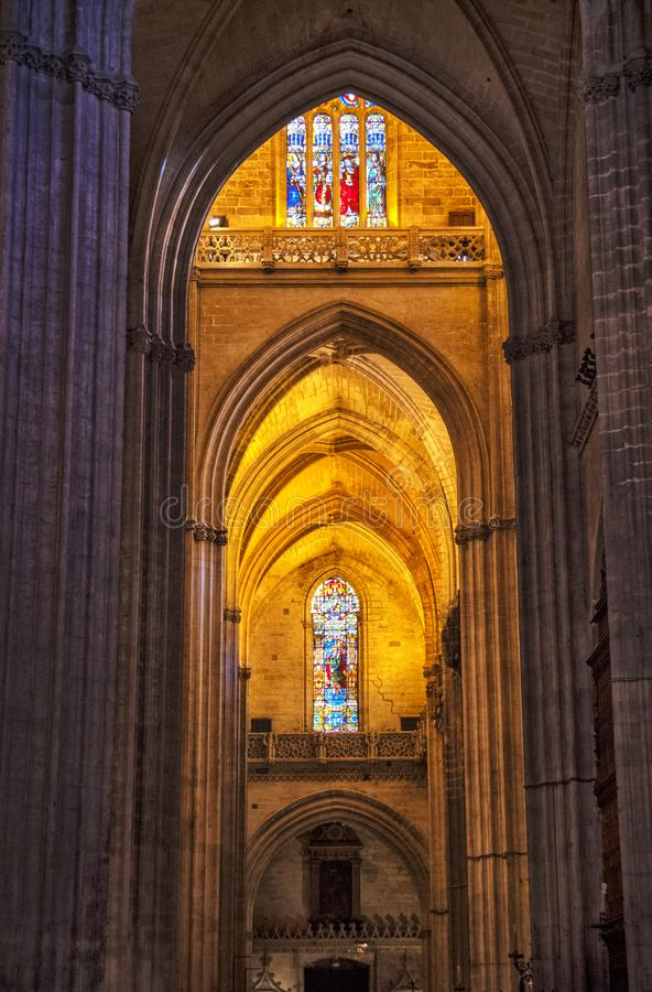Sevilla Katedralny wnętrze, Andalusia, Hiszpania obraz stock