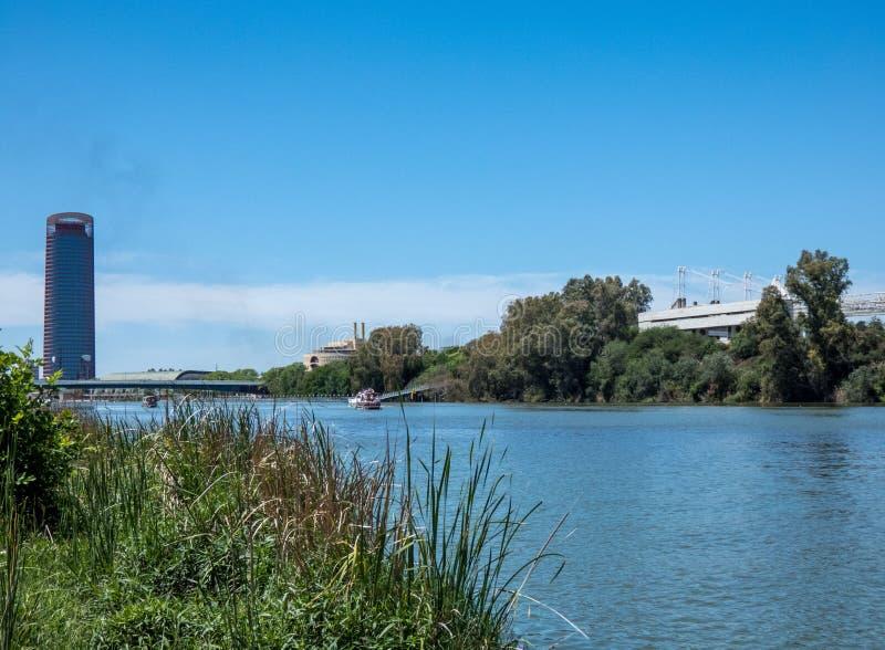 Sevilla-Landschaft, Andalusien Ansicht über den Fluss Guadalqvivir und Turm von Sevilla lizenzfreies stockbild