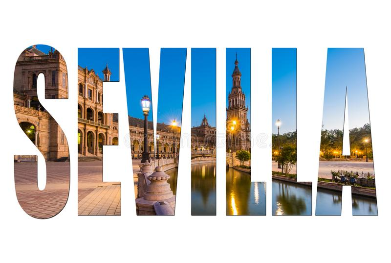 Sevilla letters isolated with image royalty free stock photography