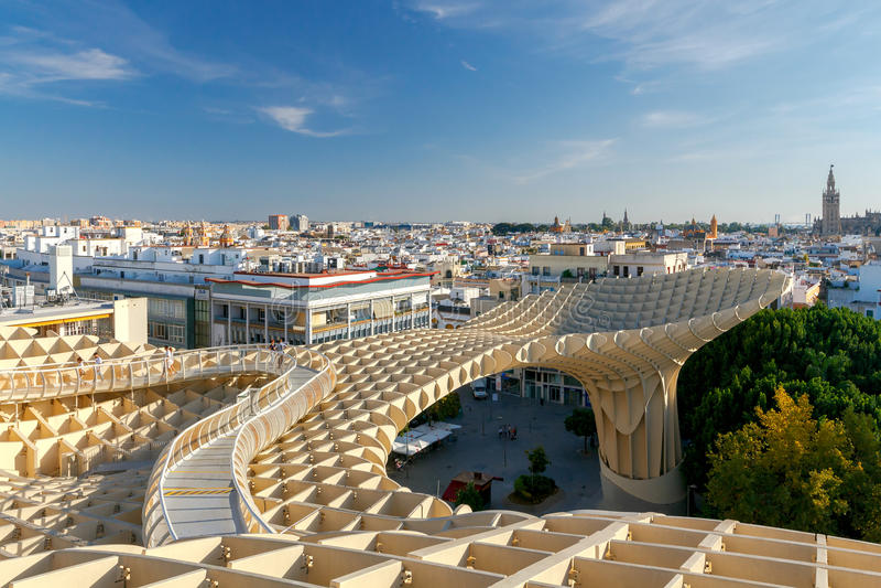 Sevilla Metropol Sonnenschirm stockfotos