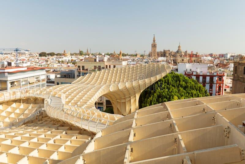 Sevilla, Panoramaansicht von der Spitze des Raum Metropol-Sonnenschirm Setasdes Sevilla im Juni 2018 lizenzfreies stockfoto