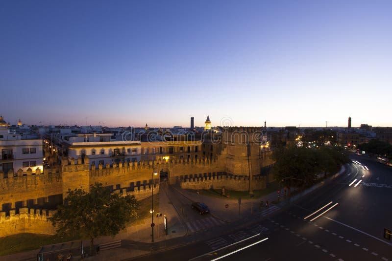 Sevilla por noche foto de archivo libre de regalías