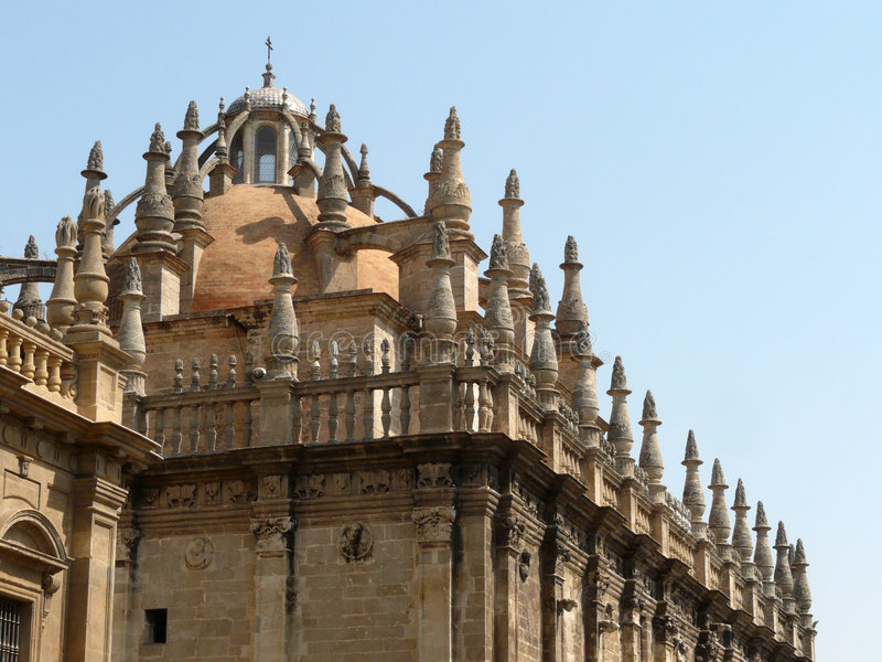 Sevilla's pinnacles. Pinnacles on the roof of the gothic Sevilla's Cathedral, Andalucia stock photography