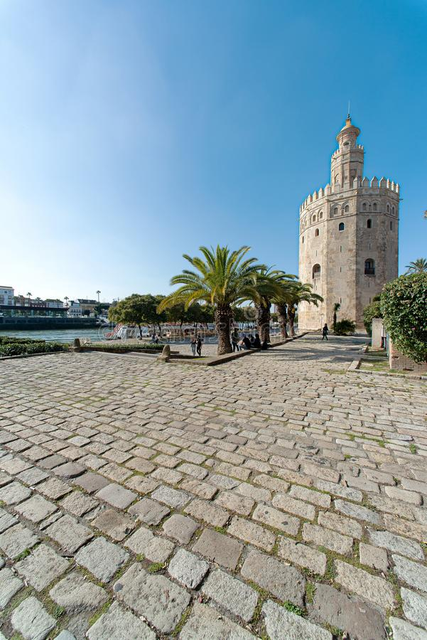 Seville, Andalusia, Spain - February 2019: gold tower royalty free stock photography