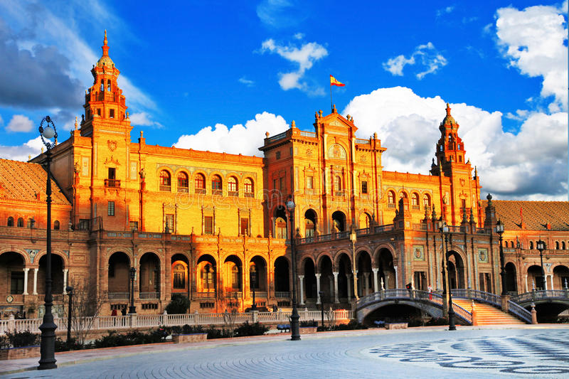 Sevilla, Spain. Beautiful Plaza de Espana, Sevilla, Spain stock photo