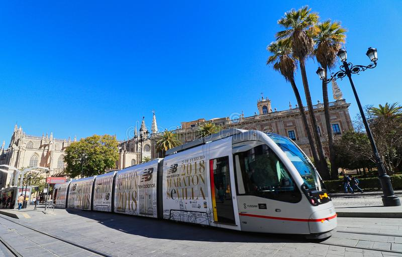 Sevilla, Spanien, Andalusien, Tramtransport lizenzfreies stockfoto