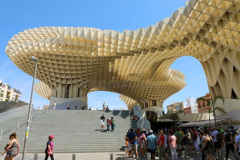 SEVILLA, SPANIEN - 14. JUNI 2018: Standpunkt Metropol-Sonnenschirm Setas-Des Sevilla der Stadt von Sevilla, Spanien stockbild