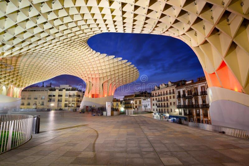 Sevilla, Spanje - Februari 16, 2017: De Metropol-Parasolstructuur door de Duitse architect J wordt ontworpen dat Mayer en voltooi stock foto