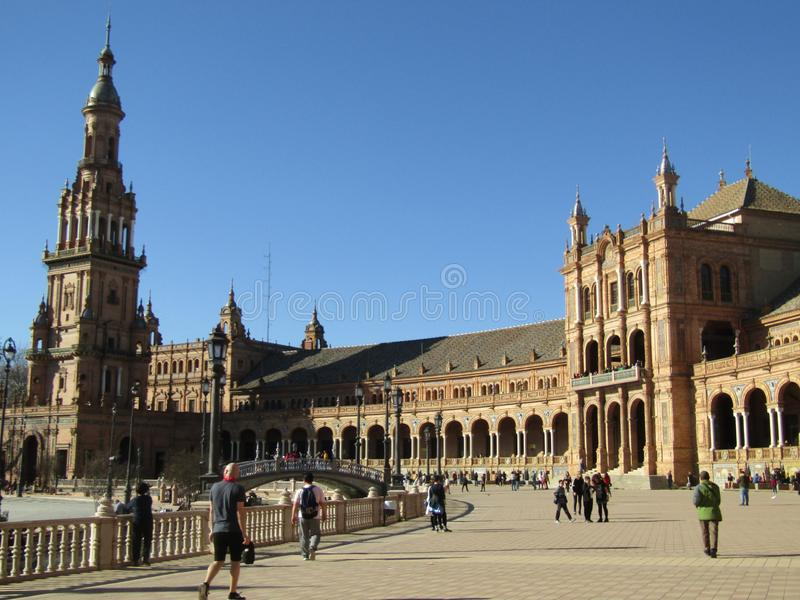 Sevilla, Spanje Spaanse Square Plaza DE Espana stock foto's