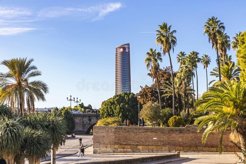 Sevilla Tower kontorsskyskrapa i den Seville staden, Spanien royaltyfria foton