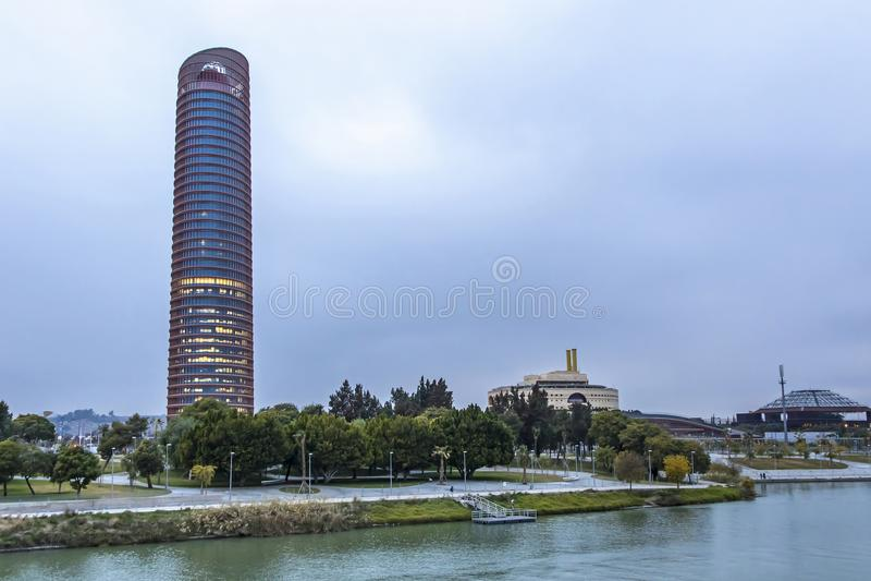 Sevilla Tower, office skyscraper in Seville city, Spain stock photography