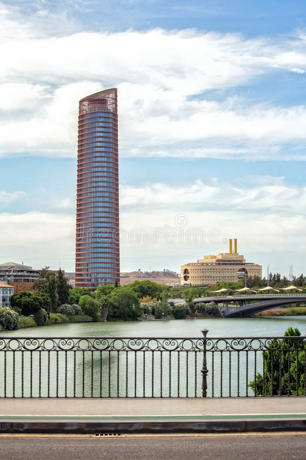 The Sevilla Tower Torre Sevilla. Known also as the Cajasol Tower or Pelli Tower, an office building in the Seville and a city landmark stock photo