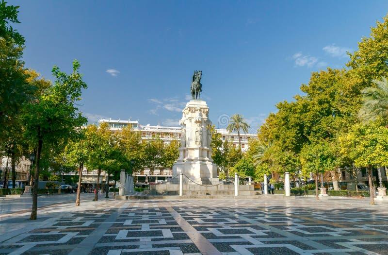 Sevilla Zabytek królewiątko Ferdinand zdjęcie royalty free