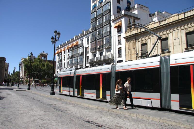 Seville światła metro na miasto ulicie obrazy stock