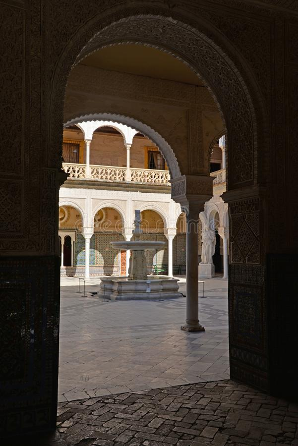 Seville, Andalusia, Spain. Casa de Pilatos arabic mudejar architecture. Seville, Andalusia, Spain. Casa de Pilatos Spanish, Andalusian palace, moresque mudejar stock photography