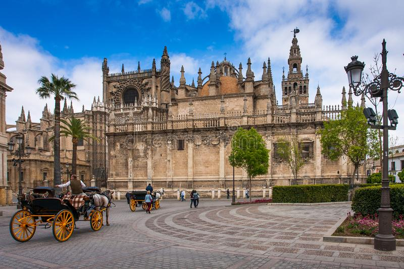 Seville, Andalusia, Spain - Exterior of the cathedral in Seville stock photography