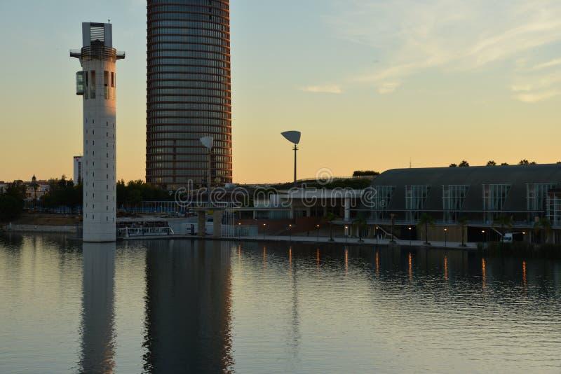Seville, Andalusia, Spain. Modern buildings at the Guadalquivir river stock image
