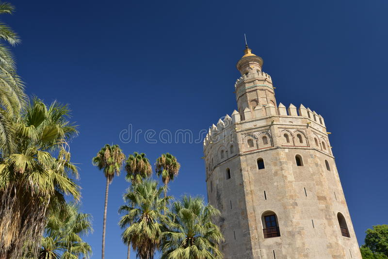 Seville, Andalusia, Spain. Torre del oro, arabic medieval defensive tower royalty free stock images