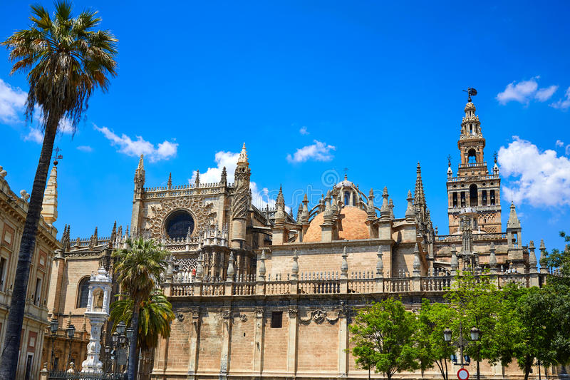 Seville cathedral and Archivo Indias Sevilla stock photography