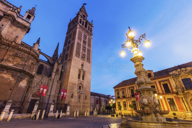 Seville Cathedral at night royalty free stock image