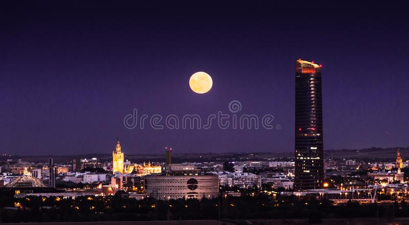 Seville city by night. Seville tower royalty free stock photography