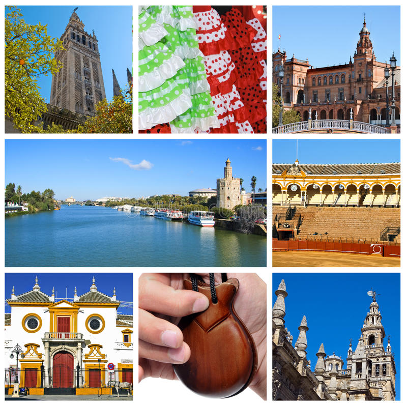 Seville collage. A collage of eight pictures of different scenes of Seville, Spain royalty free stock photography