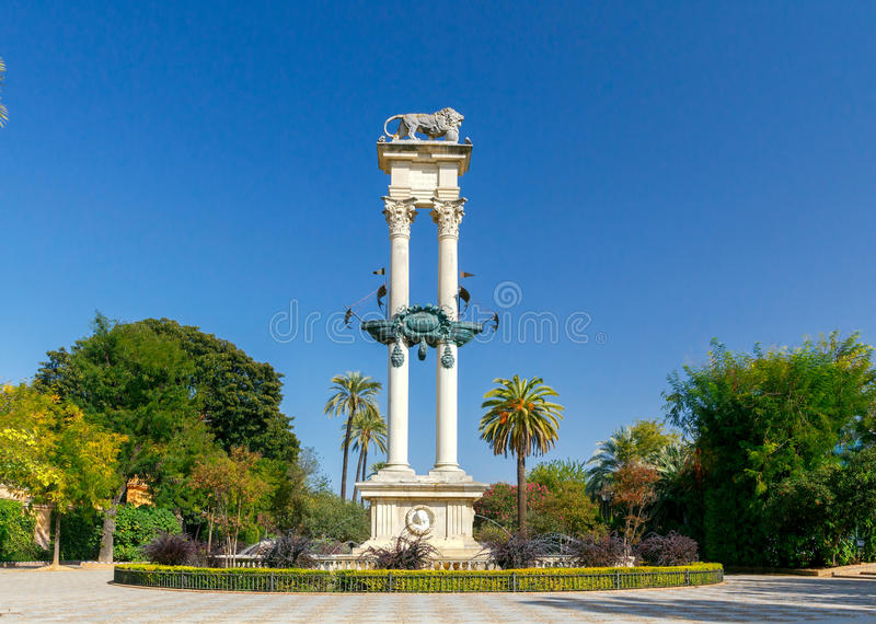 Seville. Column of Columbus. royalty free stock images