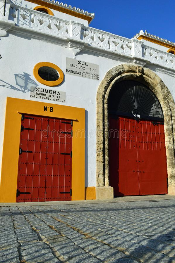 Seville - exterior The Plaza de toros de la Real Maestranza de Caballería de Sevilla royalty free stock photos