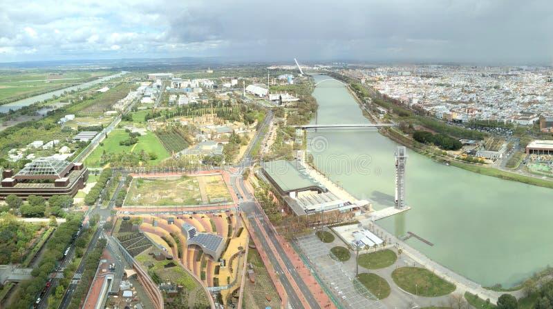 Seville från ovannämnt Sevilla Andalusia royaltyfri foto