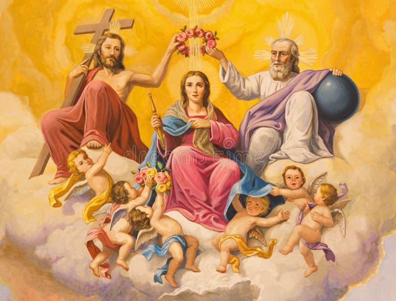 Seville - The fresco of Coronation of Virgin Mary on the ceiling of presbytery of church Basilica de la Macarena stock photography