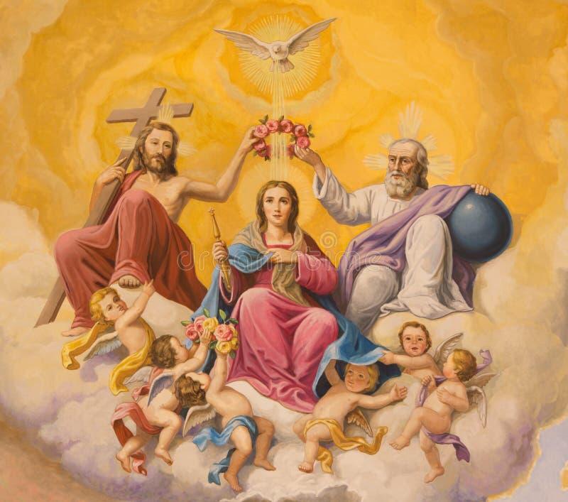 Seville - The fresco of Coronation of Virgin Mary on the ceiling of presbytery of church Basilica de la Macarena. SEVILLE, SPAIN - OCTOBER 29, 2014: The fresco stock photography