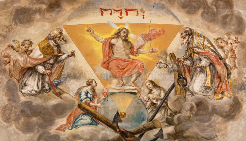 Seville - The fresco Resurrected Christ on the ceiling of presbytery in church Hospital de los Venerables Sacerdotes stock image